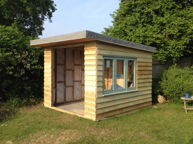 Garden studio clad and window fitted